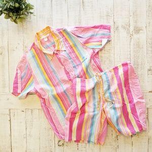 Victoria's Secret Retro Rainbow Striped Pajamas